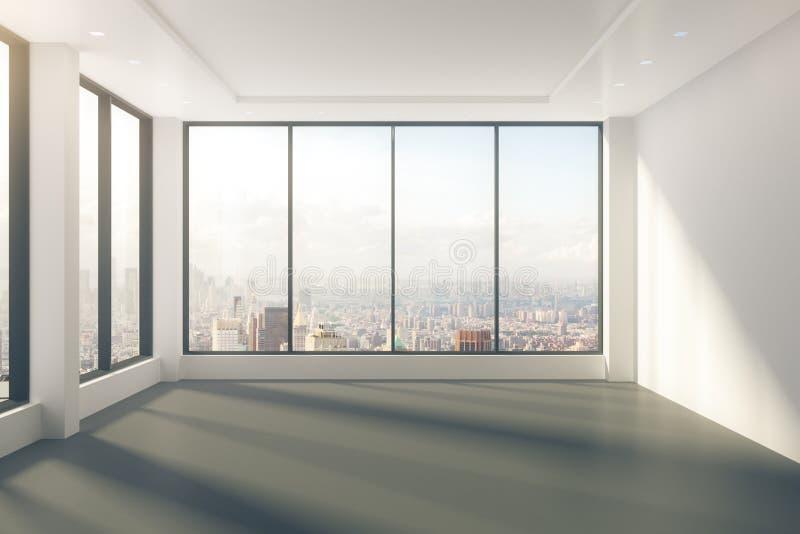 Sala vazia moderna com as janelas na opinião do assoalho e da cidade imagens de stock