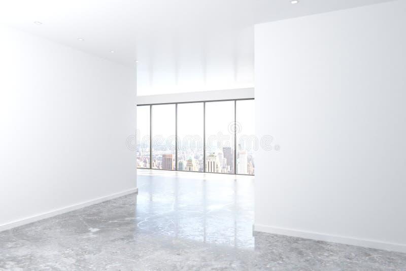 Sala vazia moderna do sótão com janelas grandes, a parede branca e o concreto ilustração royalty free