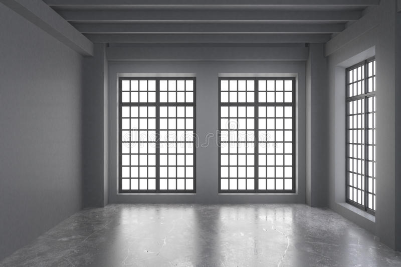 Sala vazia moderna do sótão com paredes cinzentas, assoalho e grande concretos imagens de stock