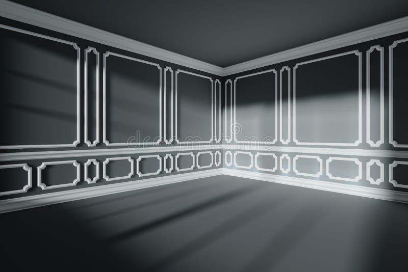 Sala vazia preta com a decoração clássica branca em paredes, ângulo largo ilustração royalty free