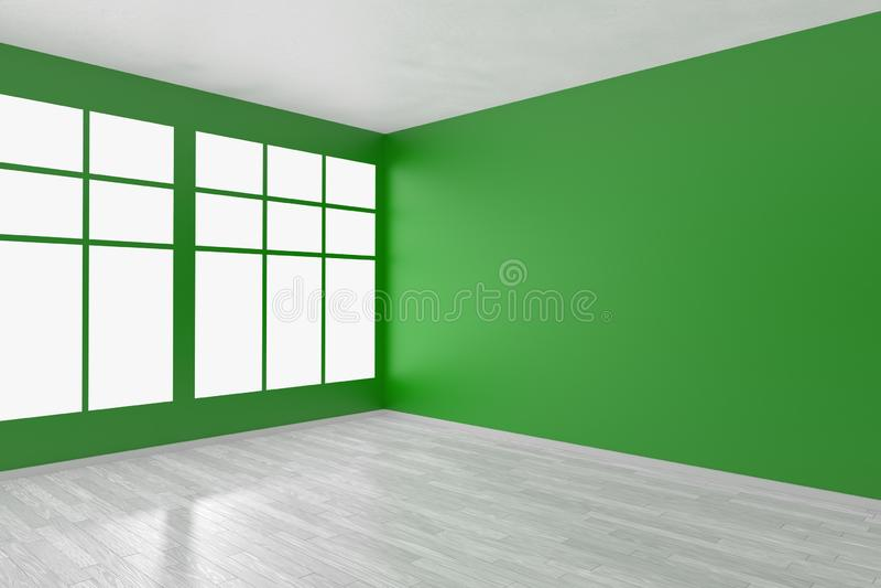 Sala vazia verde com janela e o assoalho branco ilustração royalty free