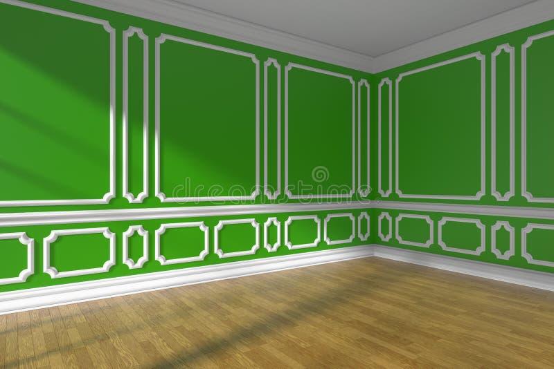 Sala vazia verde com o close up do molde e do parquet ilustração do vetor