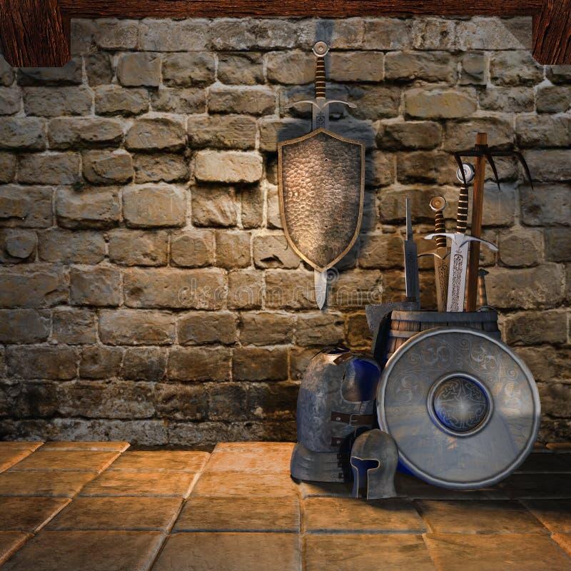 Armas medievais ilustração do vetor