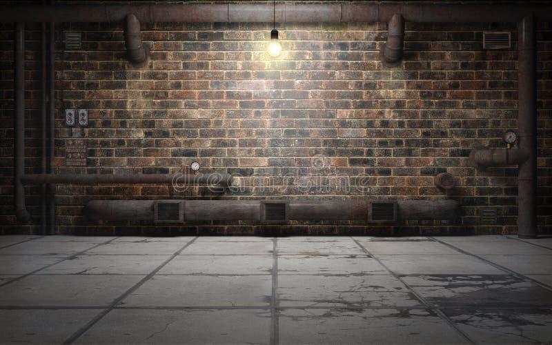 Sala velha do porão do grunge com tubulações da oxidação rendição 3d ilustração royalty free