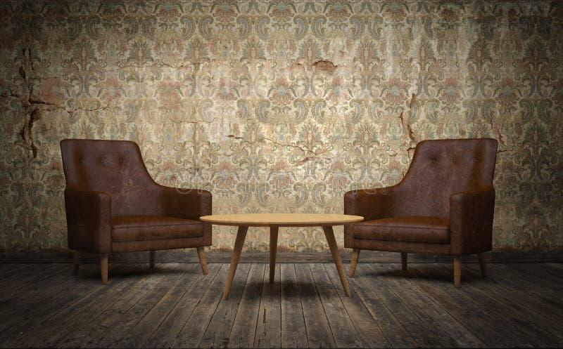 Sala velha do vintage com cadeiras de couro e mesa de centro 3d rendem ilustração do vetor