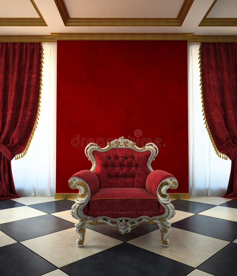 Sala vermelha da poltrona no estilo clássico ilustração do vetor