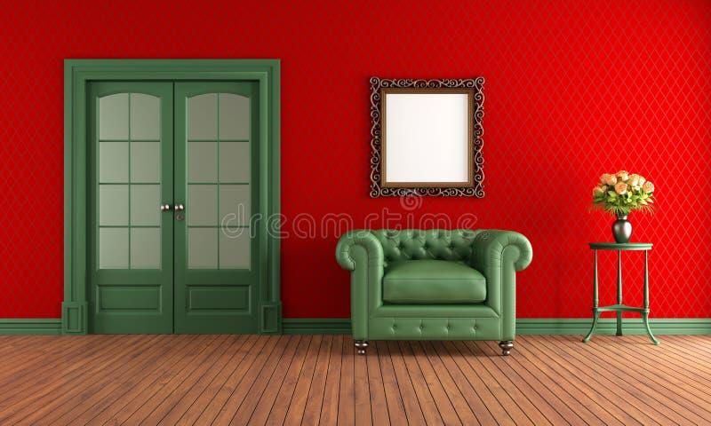 Sala vermelha e verde do vintage ilustração stock