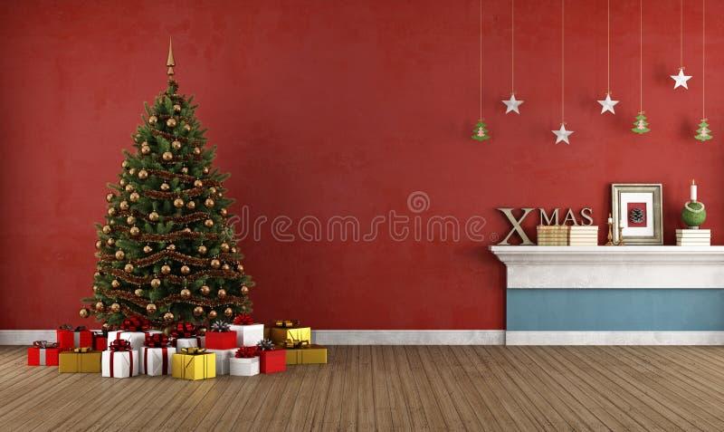 Sala vermelha velha com árvore de Natal ilustração stock
