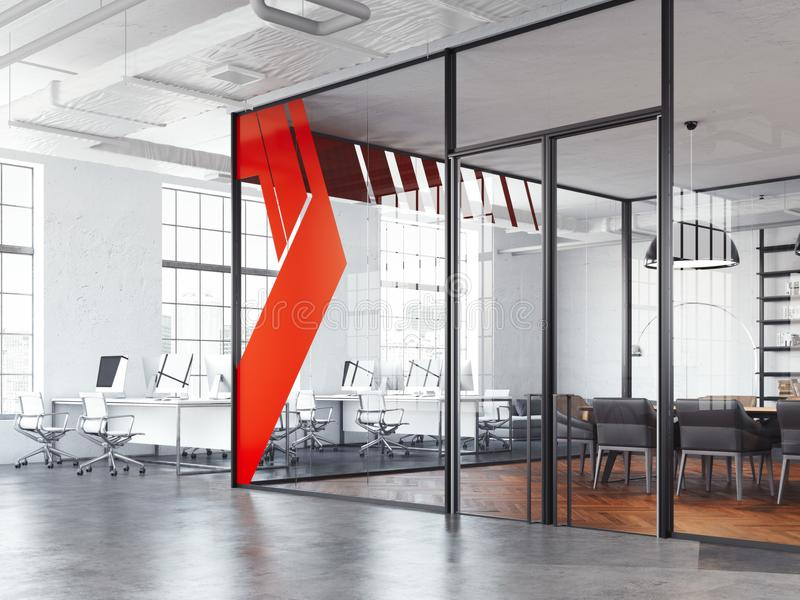 Sala y blanco de reunión de la oficina que trabajan el espacio abierto, representación 3d ilustración del vector