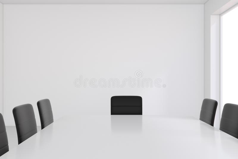 Sala y mesa de reuniones blancas vacías de reunión representación 3d libre illustration