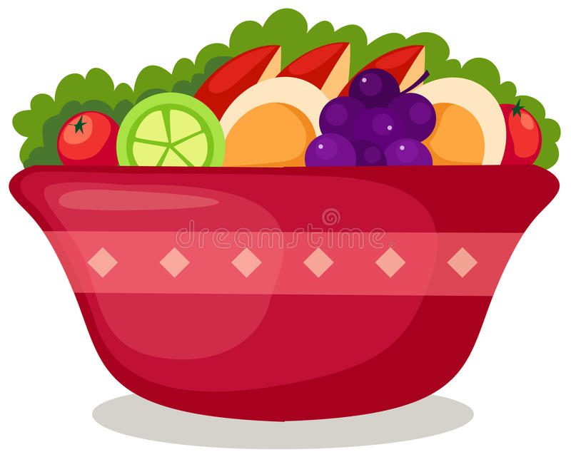 Salad. Illustration of isolated salad in bowl on white background vector illustration