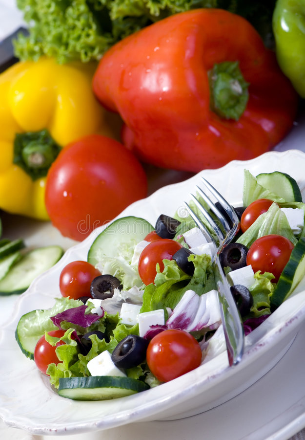 Download Salad stock photo. Image of fresh, lettuce, olives, fork - 2978858