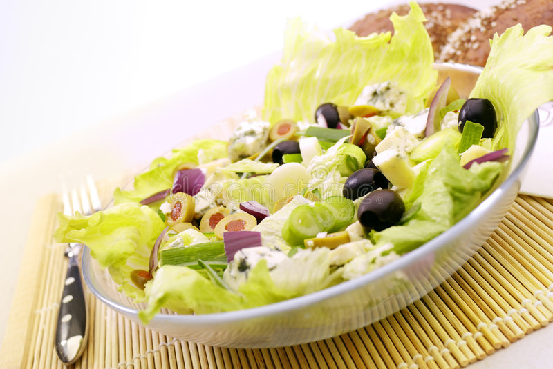 The Salad. Fresh Salad Appetizer on the plate royalty free stock photo