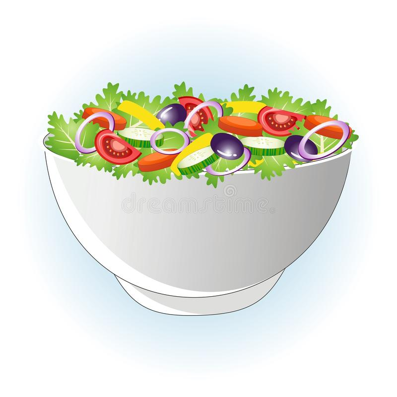Salad. Vector illustration of healthy salad in a bowl vector illustration