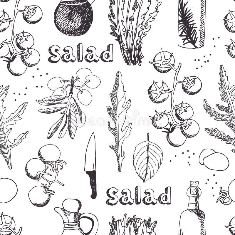 Salad with arugula, mozzarella and tomato background
