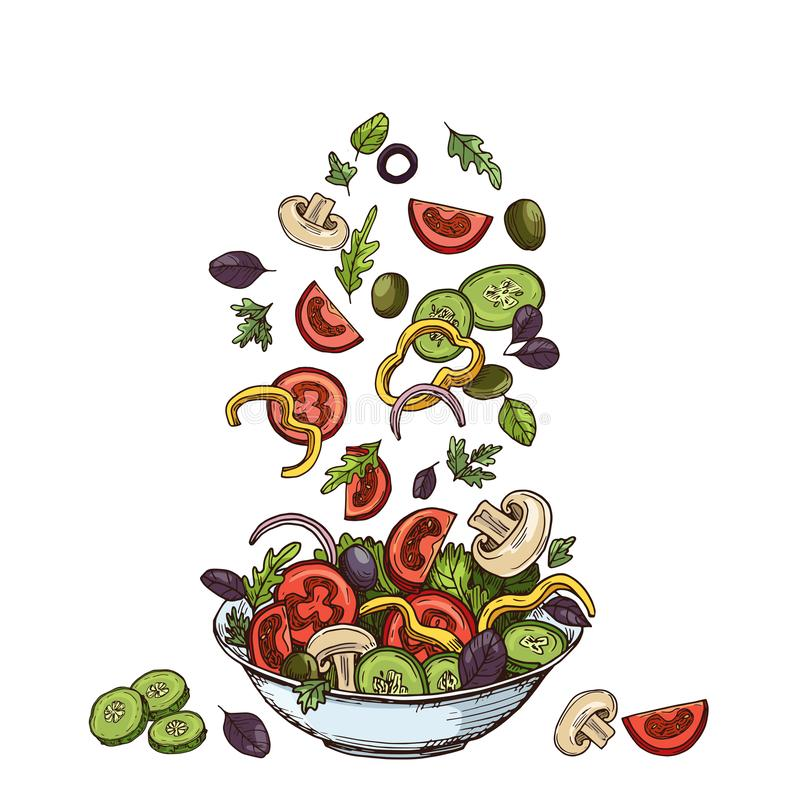 Salad background. Hand drawn healthy food ingredients. Mushrooms cucumbers, tomatoes olives and lettuce leaves. Vector vector illustration