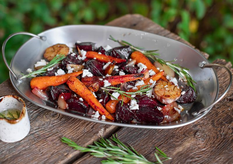Beetroot salad with carrots and garlic royalty free stock image