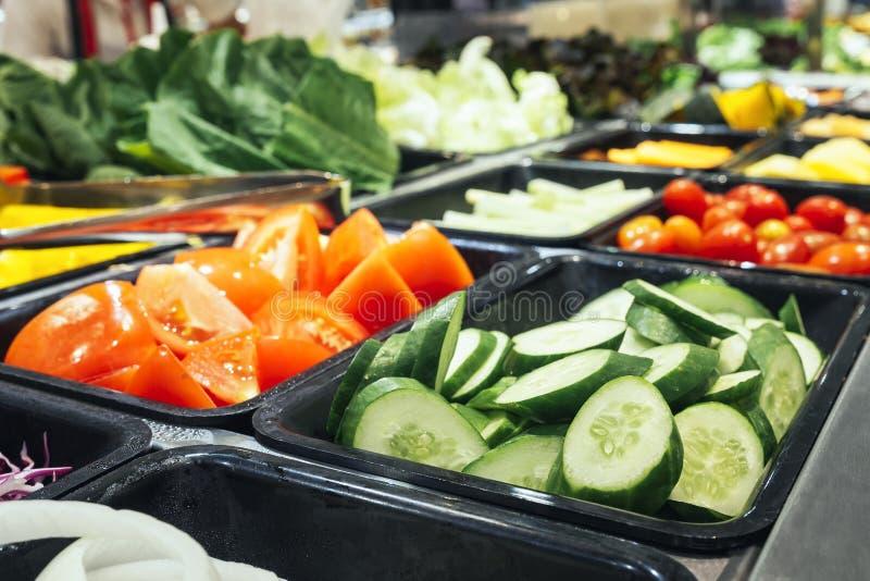Salad Bar Fresh Vegetables Sliced Cucumber Tomato Healthy food. Salad Bar Fresh Oragnic Vegetables Sliced Cucumber Tomato Healthy food stock images