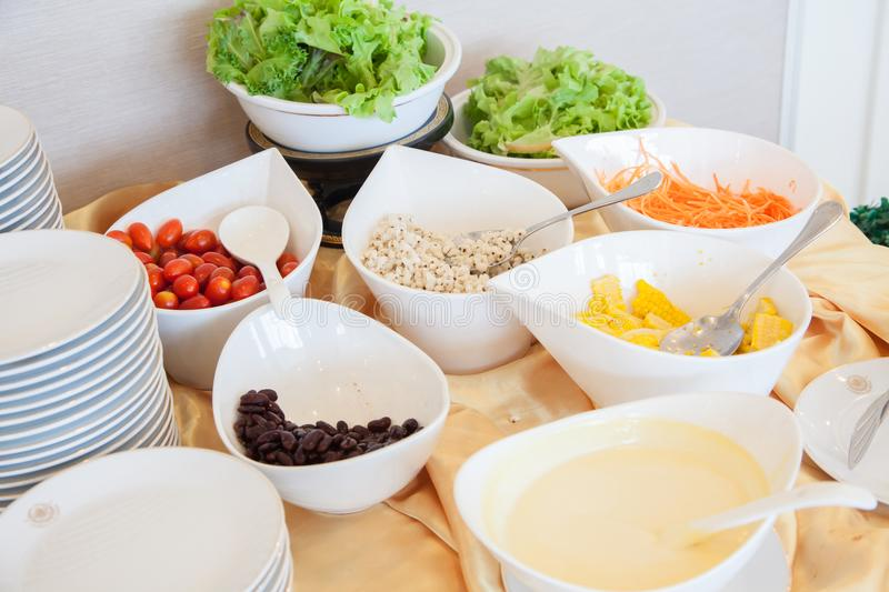 Salad bar with vegetables in the restaurant, healthy food. Fresh healthy concept and Healthy weight of diet,fresh vegetable,fruit, ready to eat salad bar royalty free stock photography