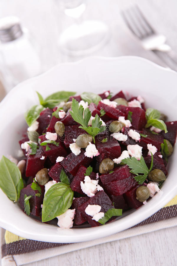 Salad with beet and feta cheese. Studio shot royalty free stock images