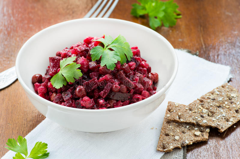 Download Salad With Beetroot, Potatoes, Pickled Cucumber And Green Peas Stock Photo - Image: 30379820