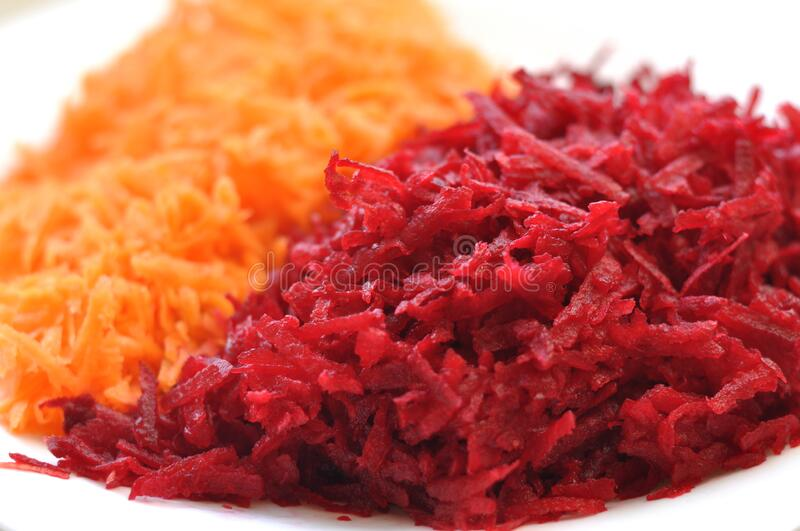 Salad beets and carrots. veggie food royalty free stock photography