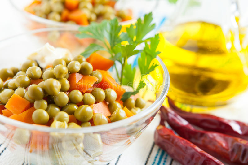 Download Salad With Canned Green Peas And Boiled Carrots Stock Image - Image: 28006077