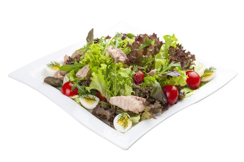 Salad with chicken breast and vegetables on a white plate stock images