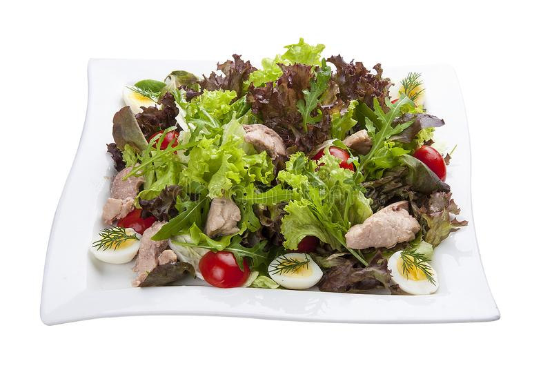 Salad with chicken breast and vegetables on a white plate stock photo