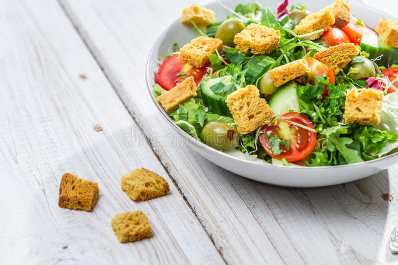 Salad with chicken and fresh vegetables royalty free stock photos
