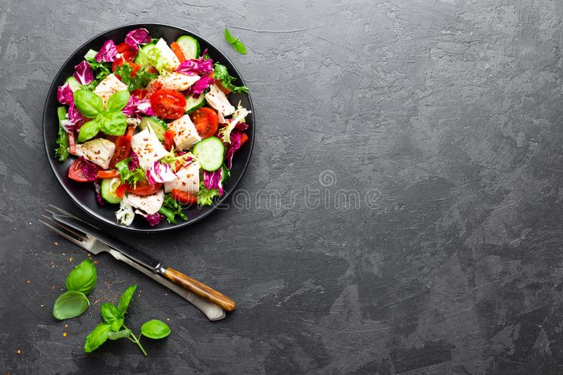 Salad with chicken meat. Fresh vegetable salad with chicken breast. Meat salad with chicken fillet and fresh vegetables stock images