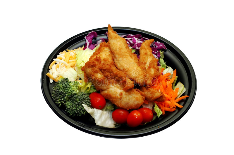 Salad with Chicken Takeout stock photo
