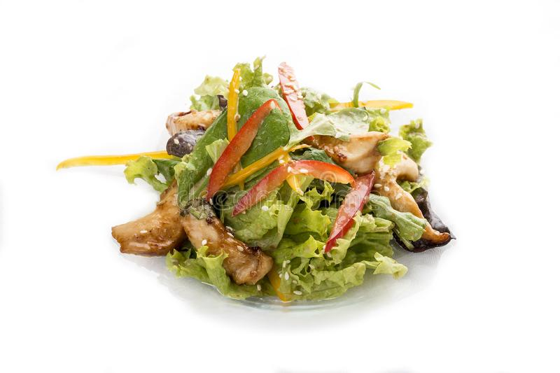Salad with chicken Teriyaki and vegetables. Asian Lunch stock photo