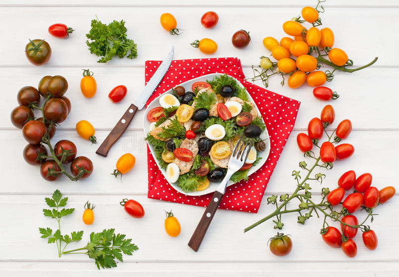 Salad with chicken and vegetables stock image