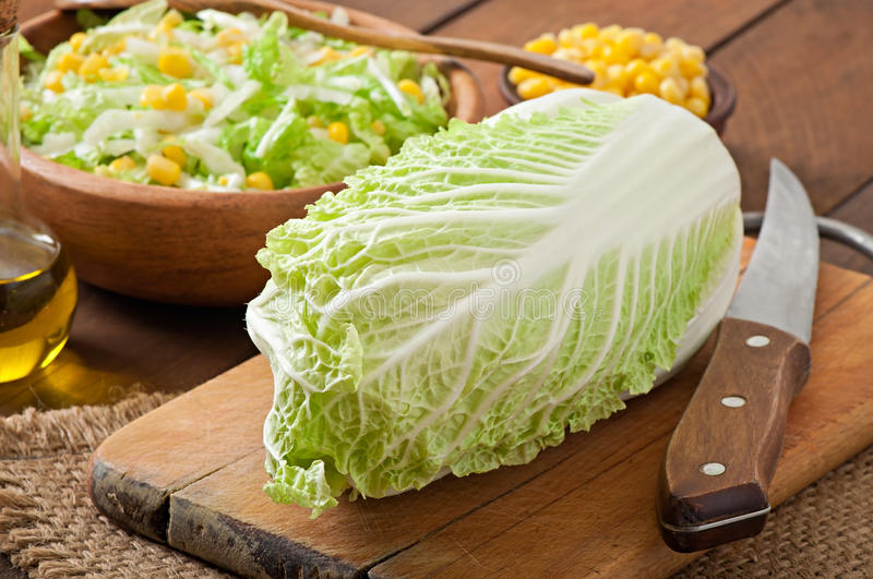 Salad from Chinese cabbage stock images