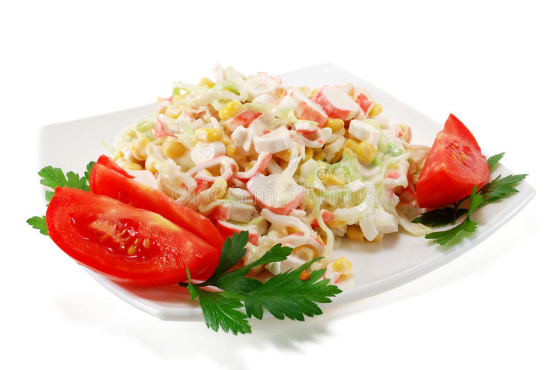 Salad of crab meat stock photos