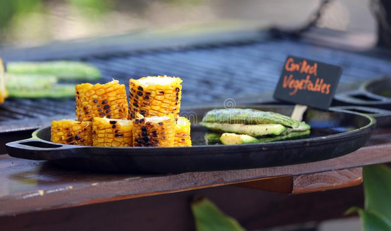 Vegetable corn grill at beach barbecue in tropical paradise Costa Rica royalty free stock image
