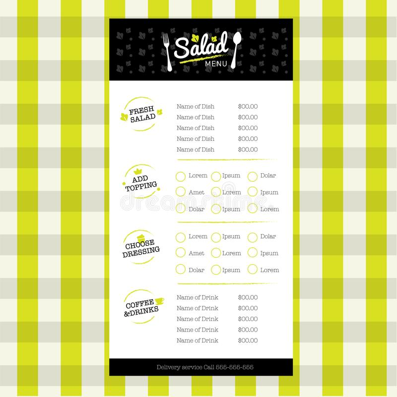 Salad and drink Restaurant organic healthy style menu design template with logo element stock photo