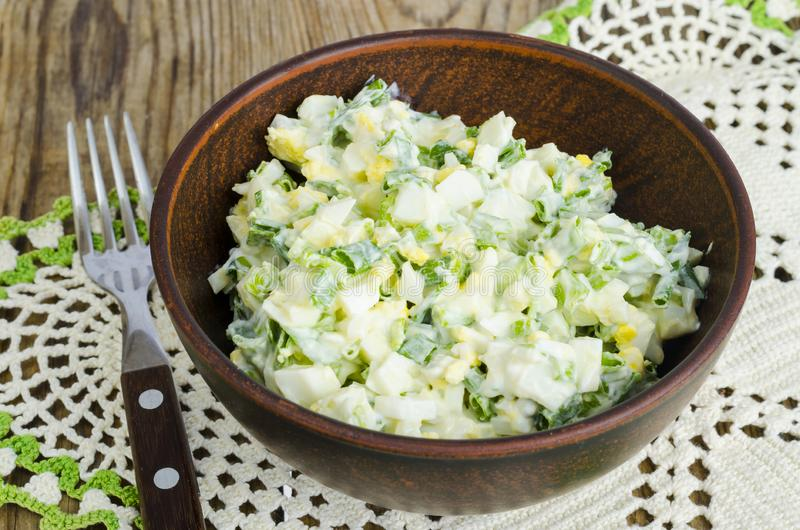 Salad with egg and green onions, vegetarian dishes. royalty free stock photography