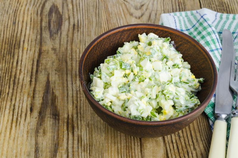 Salad with egg and green onions, vegetarian dishes. royalty free stock photos