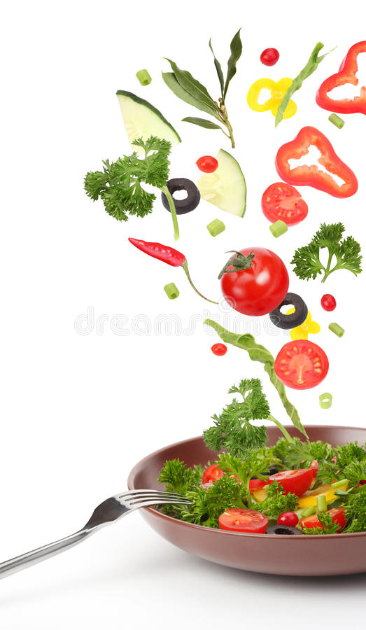 Download Salad And Falling Vegetables Stock Photo - Image: 22802834