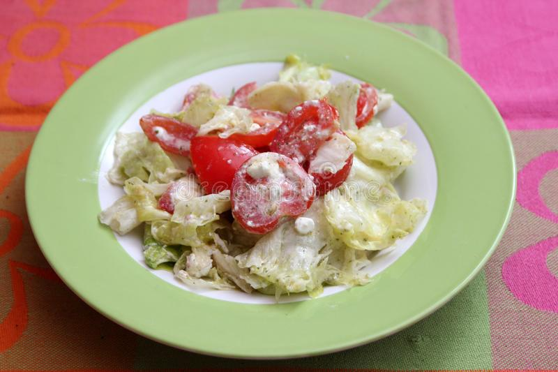 Salad with feta cheese royalty free stock photography