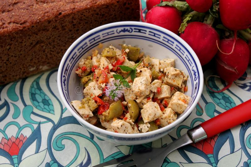 Salad of feta cheese stock images