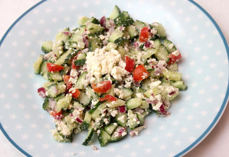 Salad with feta cheese royalty free stock photo