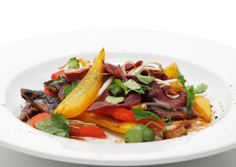 Salad with Fillet of Duck Breast royalty free stock photos
