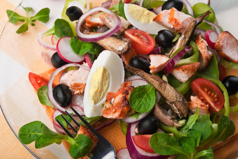 Salad with fish, eggs and olives (close-up) stock image