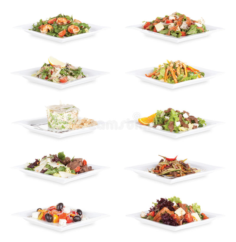 Salad food. Collection in plates royalty free stock photography
