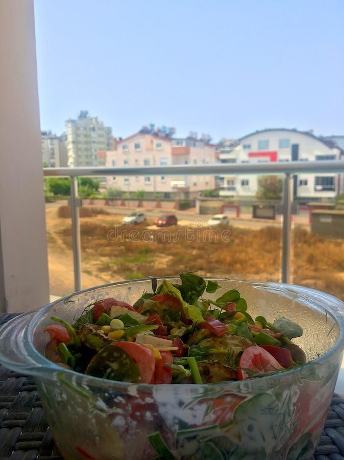 Salad on the balkon stock photos