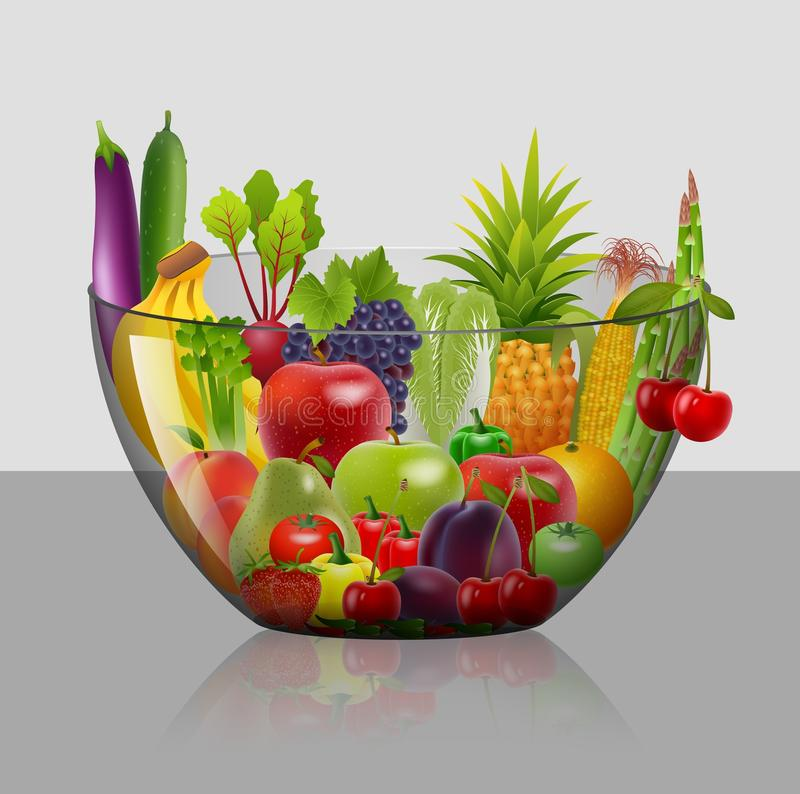 Salad with fresh fruits and berries stock illustration
