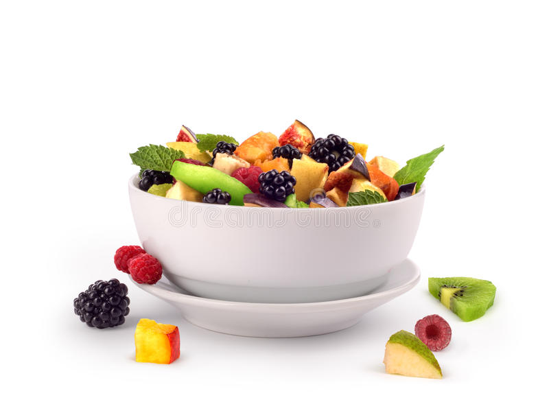 Salad with fresh fruits and berries royalty free illustration
